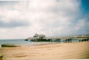 Bournemouth pier and beach quiet day