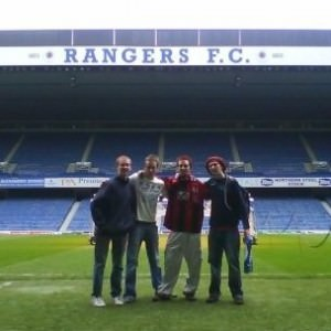 On the pitch at Rangers FC Ibrox Scotland