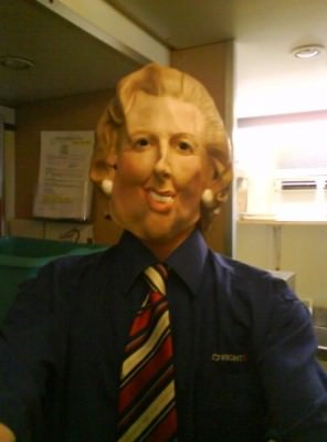 Dressing up as Margaret Thatcher in work in 2008