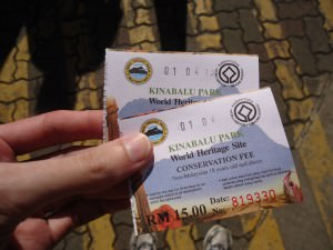 ticket for kinabalu national park borneo 15 ringitts