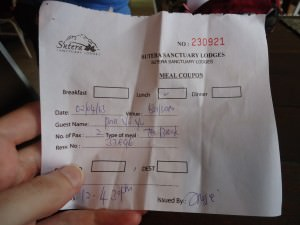 Meal voucher on Mount Kinabalu hike