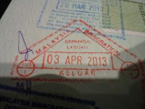 Malaysian exit stamp Labuan Borneo