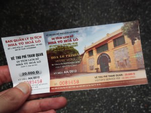 ticket for Hoa Lo Prison Hanoi Hilton Vietnam