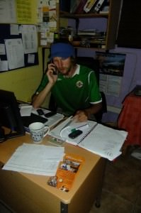 Jonny Blair on the phone in South Africa