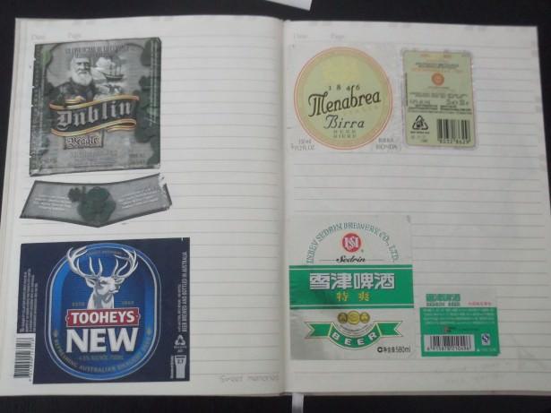 beer labels for a scrapbook