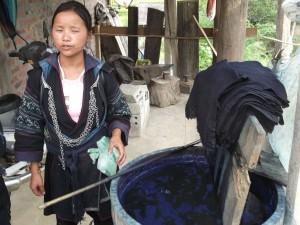 Blue indigo dye for cloths in Sapa Vietnam
