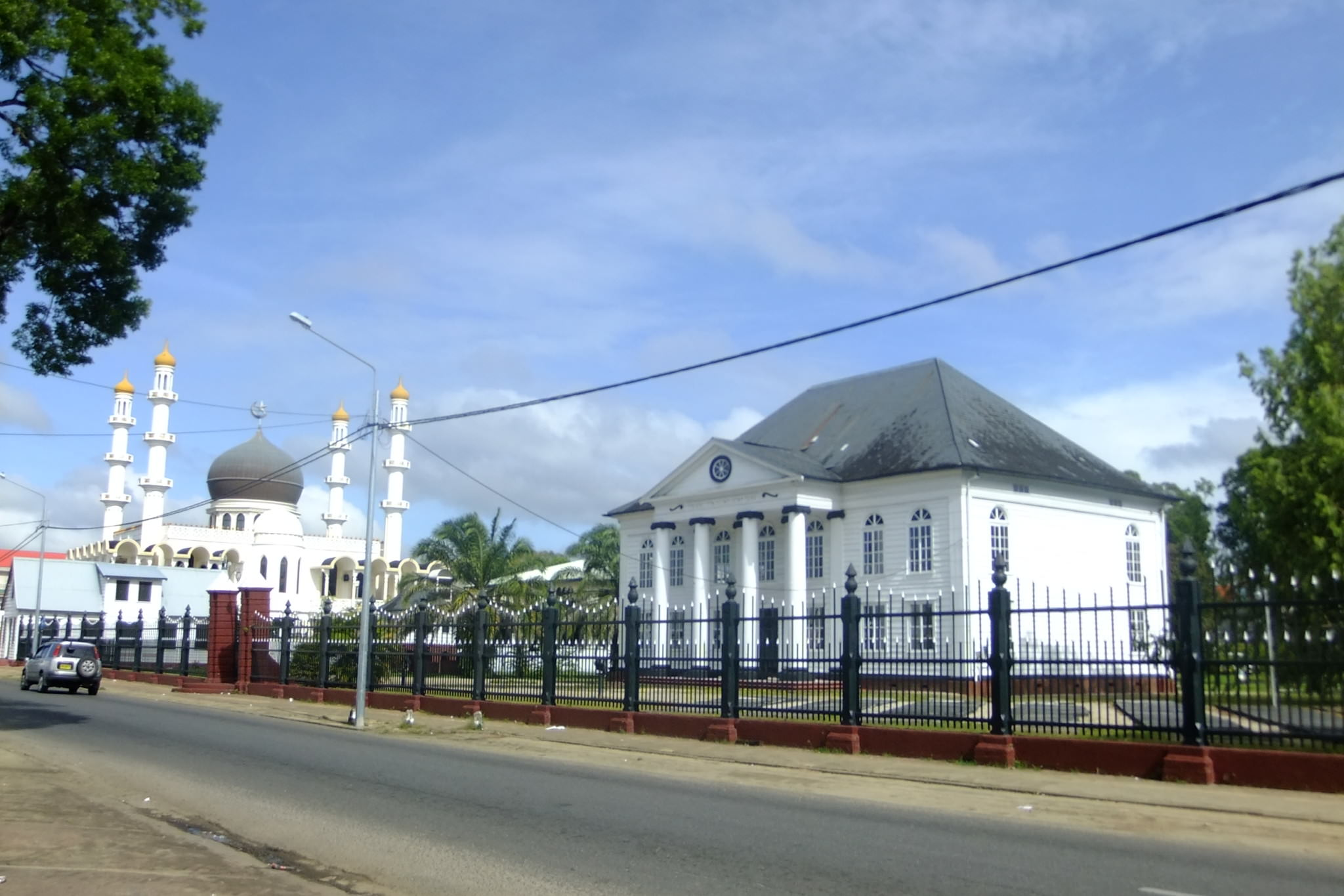 Synagogue and Mosque side by side in Paramaribo Suriname