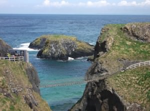 Crossing the carrick a rede rope bridge in Northern Ireland