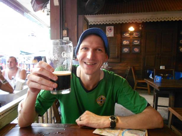 Jonny Blair drinking Guinness in Bangkok