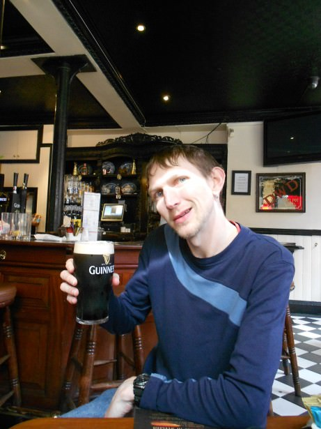 Jonny Blair having a Guinness