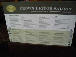 Crown Bar Belfast menu Northern Ireland