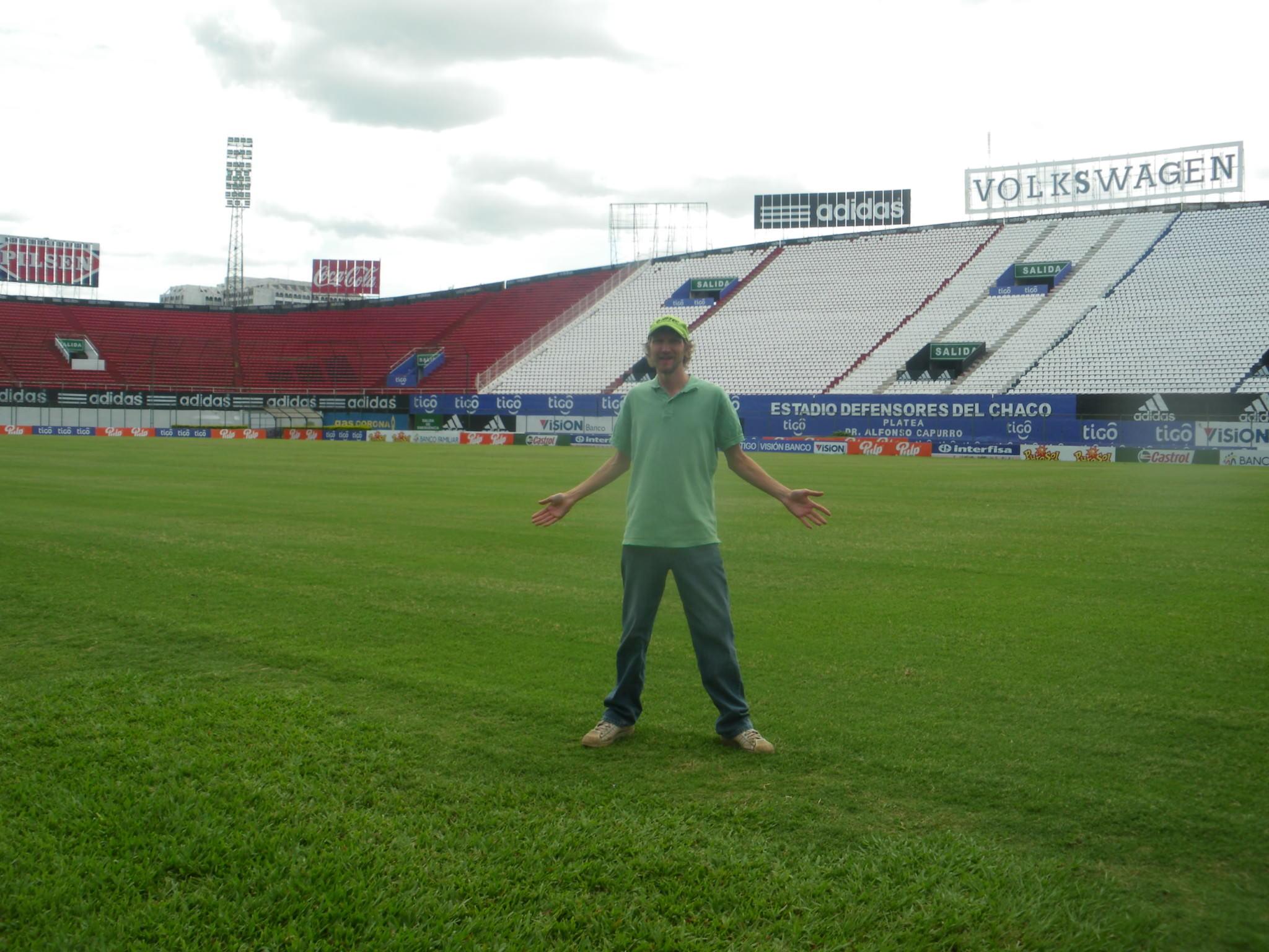 standing on the pitch at estadio defensores del chaco paraguay asuncion