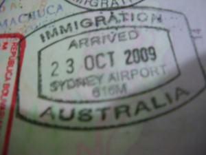 Sydney Airport passport stamp Australia Jonny Blair a lifestyle of travel