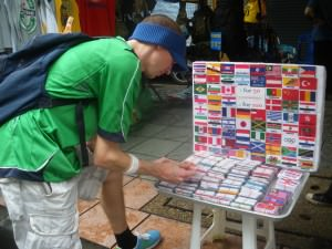 Iron on country flag patches in Khaosan Road Bangkok Thailand