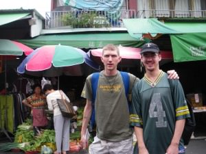 Millwall Neil and I in Chiayi Market Taiwan