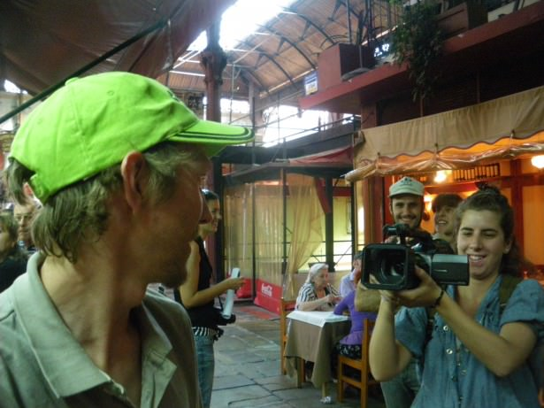 Jonny Blair being interviewed in Montevideo Uruguay