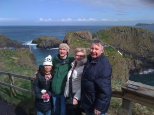 Jonny Blair and family at Carrick a rede rope bridge Northern Ireland