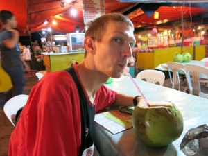 coconut juice and chicken wings in Kota kinabalu