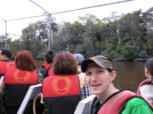 Jonny Blair watching proboscis monkeys in Malaysia in Borneo