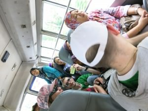 sitting on a Brunei bus in Bandar Seri Begawan