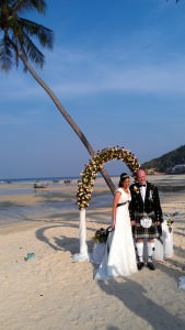 World travellers Paige and Ashley on Phi Phi island tying the knot wedding