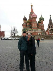 St Basils Cathedral Ashley and Paige in Moscow