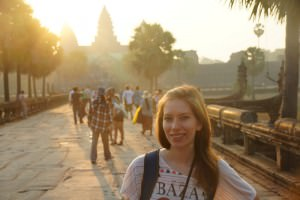 Audrey Bergner AKA That Backpacker at Angkor Wat in Cambodia