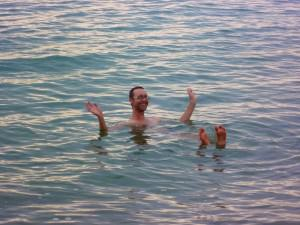 Floating in the dead sea Sam on Dont Stop Living world travellers