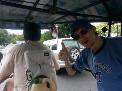 Jonny Blair tuk tuk in Vang Vieng