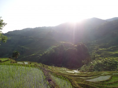 sunset at rice terraces yuanyang