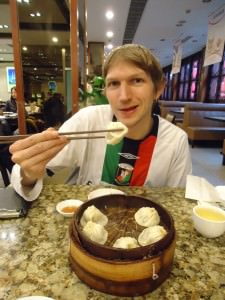 Jonny Blair of Dont Stop Living trying Shanghai Dumplings