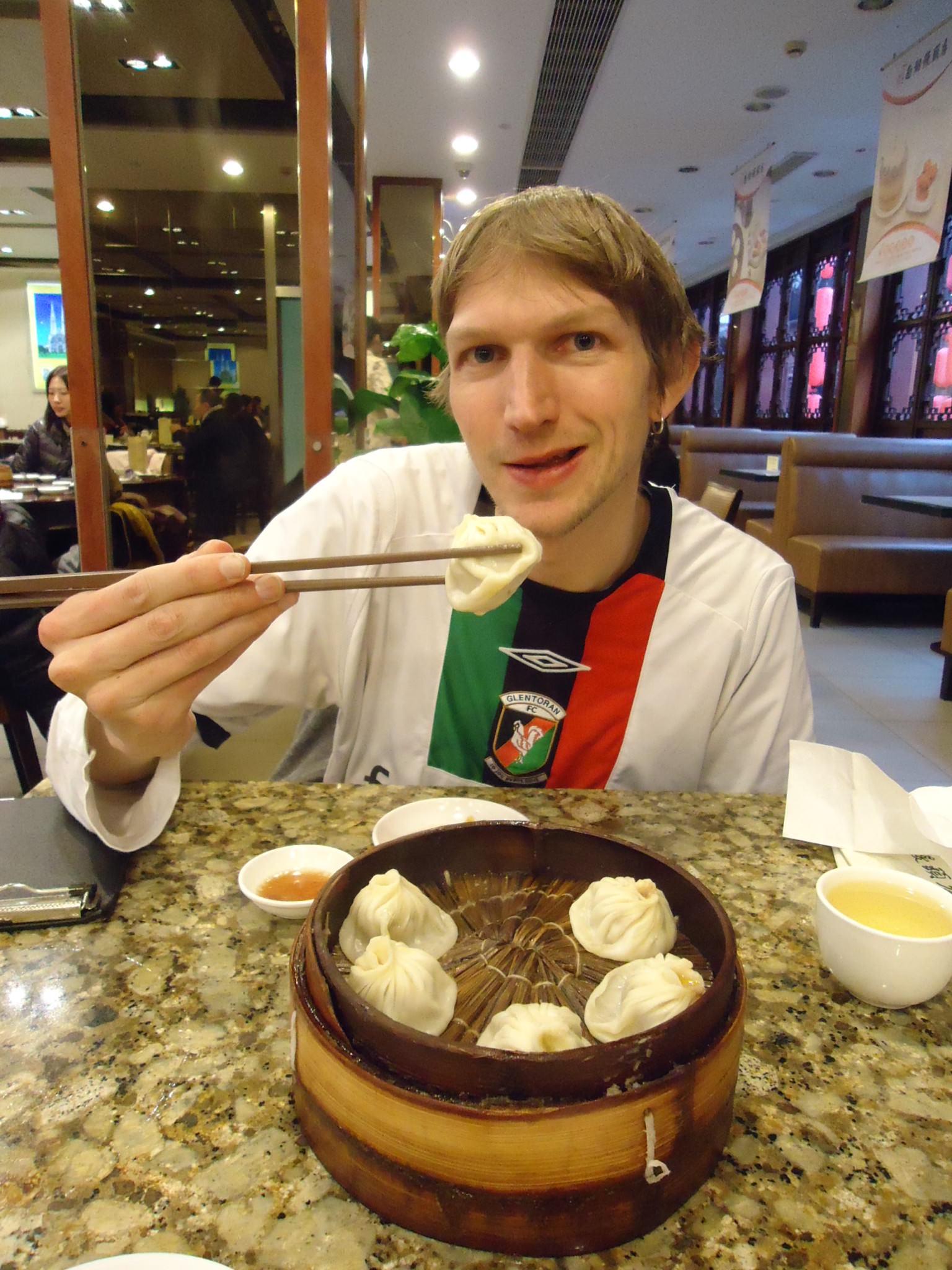 Jonny Blair of Dont Stop Living trying Shanghai Dumplings