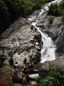 waterfall near sapa and ta van vietnam
