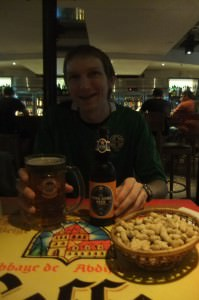 lan kwai fong having a beer.