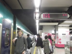 Getting on the Hung Hom to Guangzhou train