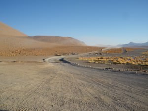 road to the thermal baths in Bolivia