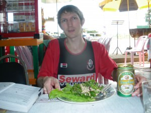 jonny blair in laos eating laap
