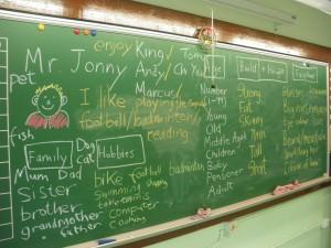 Jonny Blair teaching English in Yuen Long