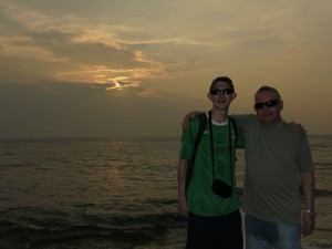 Dad in Colombo Sri Lanka sunset