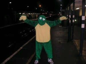 frog suit on london underground