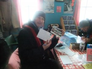 posting and writing postcards in antarctica
