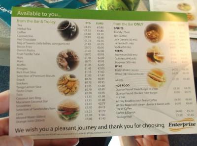 belfast to dublin menu