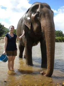 kristy and an elephant on dont stop living