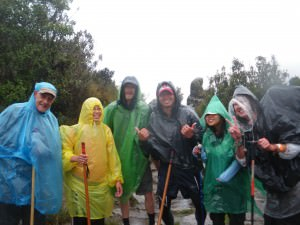 inca trail in the rain in peru.
