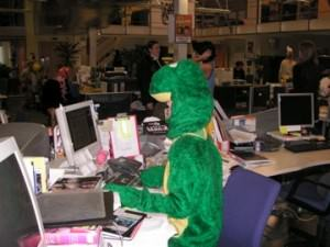 dressed as a frog