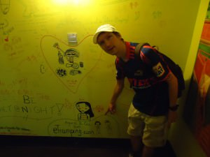 signing wall of ming palace hostel guilin