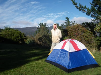 Relaxing by my tent in Poatina, Tasmania, Australia. Great mountain views!