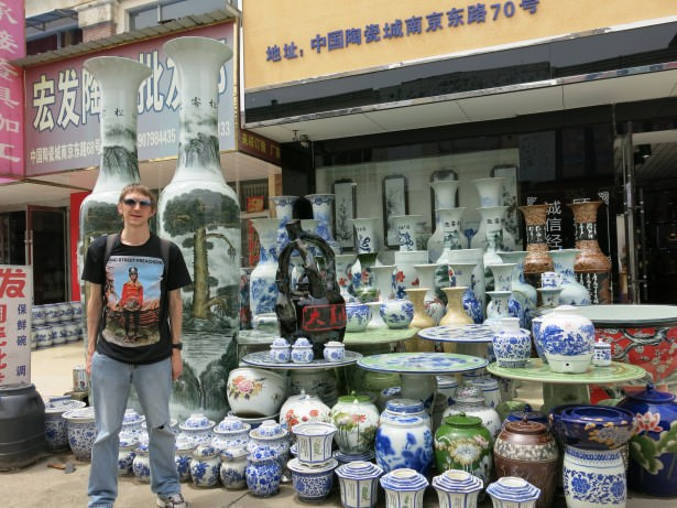 Checking out the ceramics in Jingdezhen, Jiangxi Province, China.