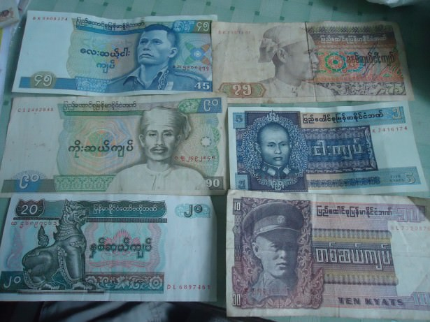 45 and 90 kyat notes