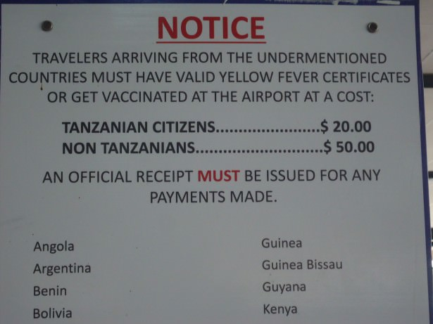 tanzania kilimanjaro airport yellow fever